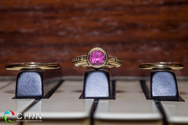 Jamaica wedding rings on piano details
