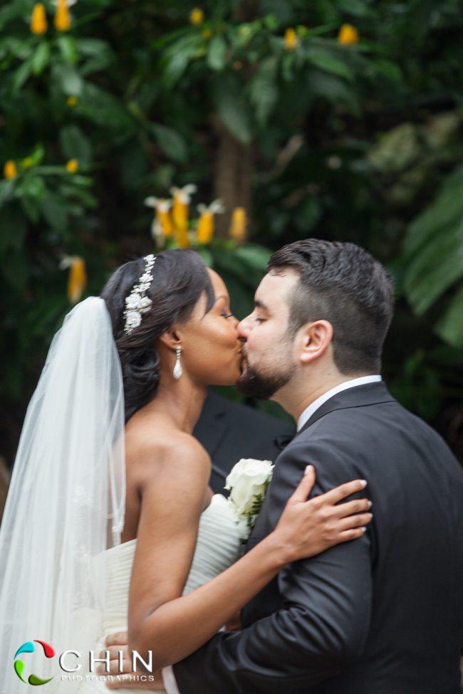 The kiss- boone hall wedding