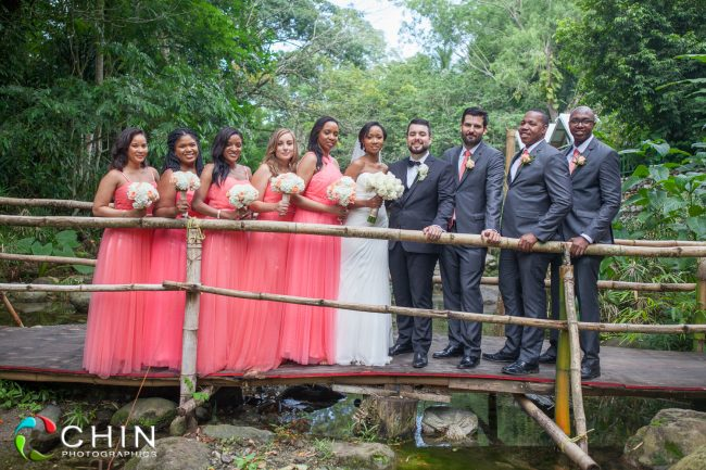 Bridal Party on Bridge Boone Hall Oasis