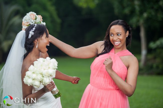 Happy Bride and Maid of Honour - Jamaican Wedding