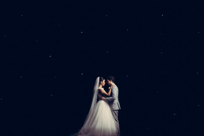 Wedding couple in the dark